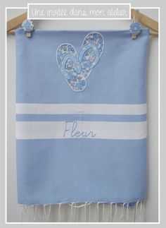 fouta-personnalisée-Liberty betsy bleu