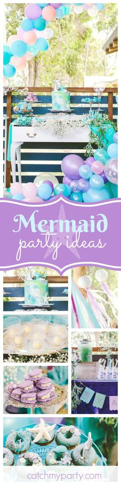 Fall in love with this stunning Mermaid birthday party for two! The under the sea decor is amazing!! See more party ideas and share yours at CatchMyParty.com