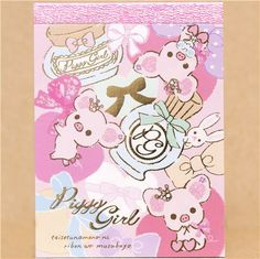 Piggy Girl pig mini Memo Pad with perfume by San-X