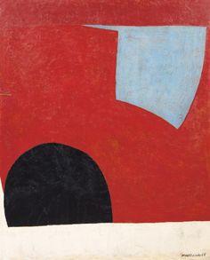 Serge Poliakoff (1900-1969), Forme bleue sur fond rouge, 1950, huile sur toile, 100 x 81 cm. Estimation : 150 000/200 000 €. Mercredi 19 novembre, salle 10 - Drouot-Richelieu. Millon & Associés SVV.