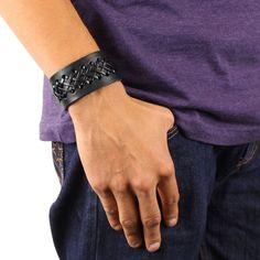 Black Laced Leather Strap Bracelet | Overstock.com Shopping - The Best Deals on Men's Bracelets