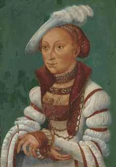 Portrait of Sibylle von Cleve, Electress of Saxony (1510-1554) by Follower of Lucas Cranach Renaissance, Portret, Saksen
