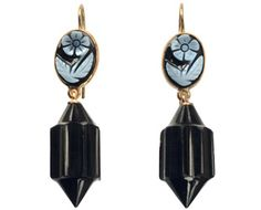 Vintage Victorian drop earrings with forget-me-not tops.