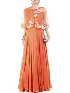 Stunning Orange Cape Princess Gown #Ekatrra #Dress #Stepintoawesome #Collection #Clothing #Forgirls #Indiandesigner #Ethnicstyle #Fashionblogger #Womenfashion #Fusion #Couture #Unique #Outfit #Fashionable #Fancy #Chic Shop Now: http://bit.ly/1r1yio3