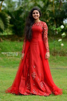 Whatsapp on 9496803123 to customise your dream wedding wear. Kerala Engagement Dress, Engagement Dresses, Bride Reception Dresses, Bridal Dresses, Kerala Saree Blouse Designs, Long Dress Design, Designer Gowns, Designer Kurtis, Designer Wear