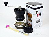 Nomi Manual Ceramic Burr Coffee Grinder Mill Hand Crank with Complimentary Lid & Brush (Black)