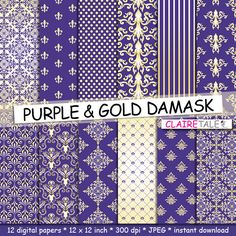 Damask digital paper PURPLE & GOLD DAMASK with gold by ClaireTALE