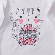 Our baby long sleeve top features cute cat print on front with glitter, gathering at the shoulders and a snap stud closure for easy change times. Cat print on front. Cute Illustration, Graphic Design Illustration, Cat Doodle, Fashion Design For Kids, Cat Party, Baby Art, Inspiration For Kids, Kids Prints, Marker