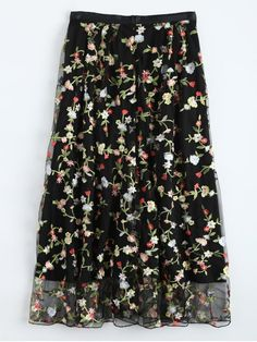 Floral Embroidered Tulle Skirt - BLACK M