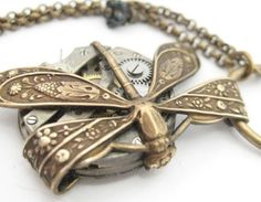 steampunk dragonfly, dragonfly necklace, steampunk dragonfly necklace, wrapped time, time on a wing, necklace, steampunk creation