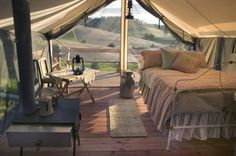 Mary Jane's Farm in Moscow, Idaho, rough it in swanky tents complete with iron bed and stove.