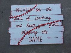Baseball Pallet Sign - Would be the perfect quote and such cute wall decor for the boys' room! (DIY or buy on Etsy)