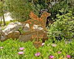 Labrador Retriever Dog Garden Stake / Metal Garden Art / Pet Memorial / Copper Art / Yard Art / Angel Dog / Pet Sculpture / Dog Lovers Gift by GardenCopperArt on Etsy