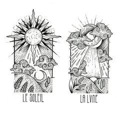 LE SOLEIL  -  LA LVNE   • Follow me on instagram: @noia_artworks Tattoo Sketches, Tattoo Drawings, Drawing Sketches, Art Drawings, Sun Drawing, Tattoos 3d, Body Art Tattoos, I Tattoo, Tattoo Moon