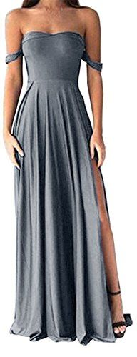 Amazon.com: Dressylady 2017 Women's A Line Off-Shoulder Sexy Long Prom Dress Side Slit: Clothing