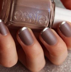 Matte and silver tip mani