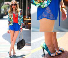 Haute & Rebellious Floral Print Blazer, Haute & Rebellious Chiffon Top, Haute & Rebellious Lace Detail Shorts, Chanel Classic Quilted Flap Bag, Zara Floral Heels, Haute & Rebellious Colored Stones Necklace, Haute & Rebellious Cat Eye Sunglasses, Haute & R