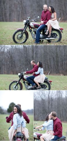 Vintage style motorcycle engagement shoot - Life with Alyda Motorcycle Engagement Photos, Motorcycle Wedding, Engagement Couple, Engagement Pictures, Engagement Shoots, Couple Photography, Engagement Photography, Wedding Photography, Photography Ideas