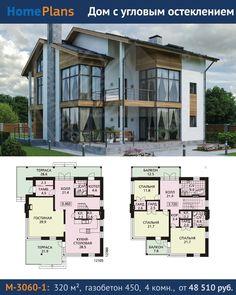 Проект M-3060-1. Дом с угловым остеклением. Современный, красивый коттедж с интересным вариантом углового остекления. Угловой витраж с легкими переплетами без простенков и массивных колонн создает ощущение воздушности и свободы. В доме запроектировано два этажа и жилая мансарда, без подвала. На первом этаже расположены гостиная и кухня-столовая, котельная(автономная), со своим выходом на улицу. На втором этаже находится три спальни и ванная комната. В мансарде можно устроить мастерскую…