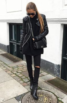 Think all black, think rocker girl. We recommend sticking to darker colours if you want to get the ultimate rock chick feel. Via Maria Kragmann.Jeans: Asos.