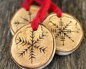 Tree Branch Christmas Ornaments - Snowflake - Set of 3 - Large Size
