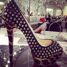 Beautiful studded cheetah Christian Louboutin heels. Taken with #Snapette.  www.snapette.com/app