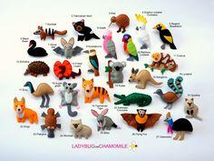 australian animals, felt animals,1. Numbat 2. Tasmanian devil 3. Kiwi 4. Sulphur-crested Cockatoo 5. Regent Bowerbird 6. Black Swan 7. Ghost Bat 8. Kookaburra 9. Galah 10. Rainbow Lorikeet 11. Cuscus 12. Echidna 13. Frilled lizard 14. Koala 15. Kangaroo 16. Lyrebird 17. Emu 18. Sugar glider 19. Tasmanian Tiger 20. Saltwater Crocodile 21. Quokka 22. Dingo 23. Platypus 24. Wombat 25. Bilby 26. Flying Fox 27. Cassowary