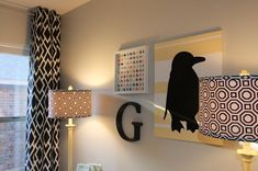 Black and white look great in graphic prints.  #nursery #blackandwhite #yellow #graphiccurtain