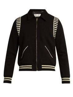 SAINT LAURENT Point-Collar Wool Bomber Jacket. #saintlaurent #cloth #jacket
