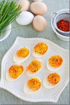 deviled eggs with horseradish, Horseradish Deviled Eggs for Jennys Baby Shower! Bev Cooks, Cheesy Horseradish Deviled Eggs and Easy Kitchen. Appetizers For Party, Appetizer Recipes, Specific Carbohydrate Diet, Scd Recipes, Thanksgiving Side Dishes, Deviled Eggs, Yummy Food, Snacks, Eat