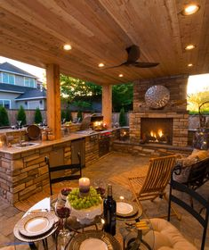 Outdoor patio ideas Backyard ideas Outdoor kitchen Outdoor kitchen ideas Outdoor living space by rosario Rustic Outdoor Fireplaces, Outdoor Fireplace Designs, Backyard Fireplace, Fireplace Ideas, Rustic Outdoor Kitchens, Kitchen Rustic, Brick Fireplace, Porch With Fireplace, Covered Outdoor Kitchens