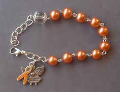 Uterine Cancer Awareness - 8mm Peach Glass One Decade Rosary Bracelet by JaysReligiousGifts on Etsy
