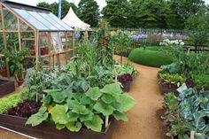Kitchen Garden holds its own in a beautiful garden landscape | jardin potager | Hampton Court Flower Show 2010 The Girlguiding UK Centenary Garden
