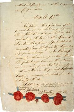 """Historical Event: """"The Treaty of Paris of 1783, negotiated between the United States and Great Britain, ended the revolutionary war and recognized American independence"""" (http://www.history.com/topics/american-revolution/treaty-of-paris)"""