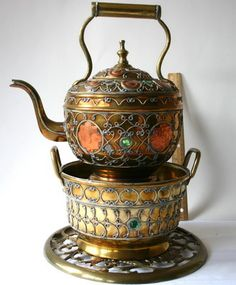 WOW Vintage Ornate Brass Copper Silver Jewels Teapot w/Warmer/Stand Brass Trivet
