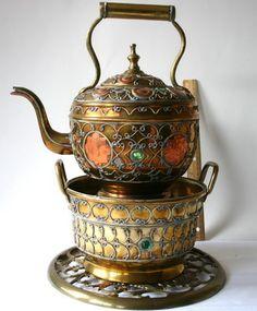WOW Vintage Ornate Brass Copper Silver Jewels Teapot w/Warmer/Stand Brass Trivet