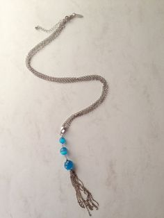 necklace with blue glass beads by photobistro on Etsy
