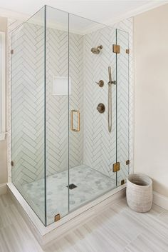 Master bathroom shower with white herringbone tiles and gray grout features perfect dimensional patterns. Master bathroom shower with white herringbone tiles and gray grout features perfect dimensional patterns. Diy Bathroom Remodel, Shower Remodel, Bathroom Interior, Bathroom Remodeling, Remodeling Ideas, Restroom Remodel, Bathroom Tile Designs, Bathroom Floor Tiles, Bathroom Ideas