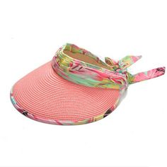 fa8a20bb640 Flower bow sun visor hat for women outdoor riding UV straw hats package