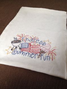 Summer Fun Dish Towel Hand Embroidered by AliRage on Etsy, $5.00- Perfect for July 4th Independence Day Celebrations