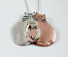 Sterling And Copper Cat Jewelry Pendant - Ginger And Milo Are Friends