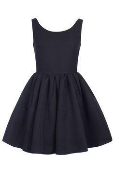 ワンピース・ドレス - Aライン - プリーツノースリーブ パフ薄手の黒ワンピース