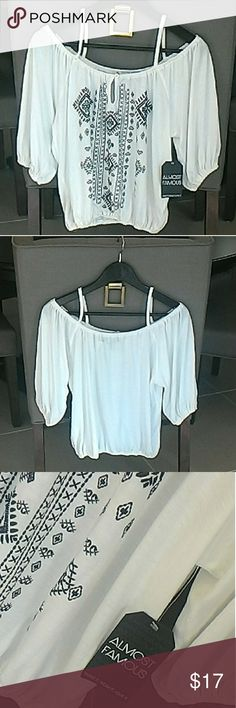"NWOT ""Almost Famous"" Top! Never worn & with tags. I bought it @ Tilly's for $29 plus tax. Cute and light weight. You'll wear it all the time this summer :)  It's white and navy blue, and will look super cute with jean shorts and skirts. Almost Famous Tops"