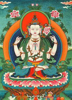 Avalokiteshvara, Buda de la Compasión, encarna la compasión universal de los seres iluminados. Confiando en él, incrementamos naturalmente nuestra compasión.  Sus primeras dos manos sostienen una joya (su propia iluminación); su segunda mano izquierda sostiene una flor de loto blanco (completa pureza de cuerpo, palabra y mente); y su segunda mano derecha sostiene un mala de cristal (la capacidad de liberar del Samsara a los seres).