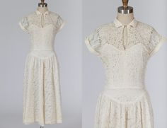 vintage wedding dress/ 1950s dress/ lace by MidnightMart on Etsy, $168.00