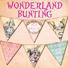 ALICE in WONDERLAND BUNTING digital printable bunting download for scrapbooking, party printables and graphic design.. $5.00, via Etsy.