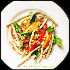 Pasta and Roasted Sweet Peppers Salad with Walnuts
