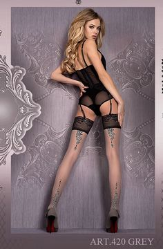 Shop for #lingerie : Grey Black Stockings Hold Ups Womens Lingerie Ballerina 420 UK STOCK + FREE SHIP by weeabootique.