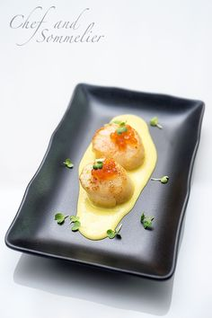 Chef and Sommelier: Scallops with Sweetcorn Puree and Ikura