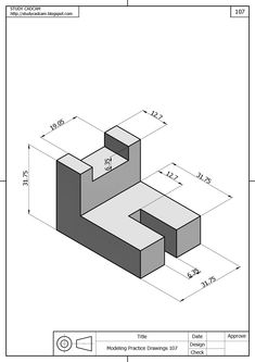 Autocad Isometric Drawing, Isometric Drawing Exercises, Mechanical Engineering Projects, Orthographic Drawing, Interesting Drawings, 3d Cad Models, 3d Drawings, Mechanical Design, Technical Drawing